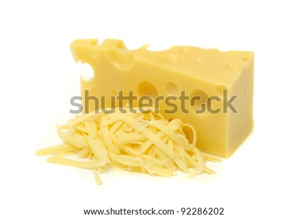 Chunk of Cheese and Pile of Grated Cheese Isolated on White Background - stock photo