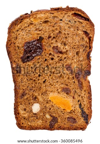 Chunk of fruit bread isolated on a white background - stock photo