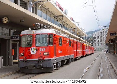Chur, Switzerland - June 07, 2010: Train to Arosa is ready to depart.