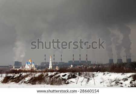Church against thermal power station pipes