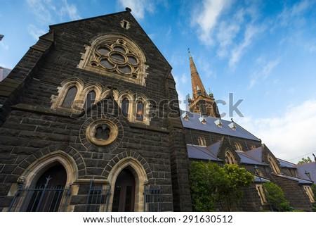 Church and blue sky in Australia - stock photo