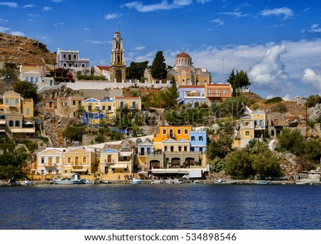 Church and houses of the Symi Island. Dodecanese. Greece
