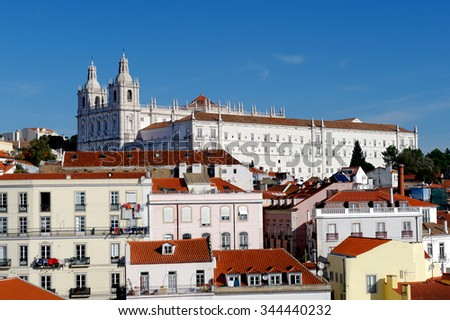 Church and Monastery of São Vicente de Fora in Lisbon, Portugal, overlooking the old part of the city, built between 1582 and 1629 in honor of the patron saint of the city since 1173 - St. Vincent - stock photo