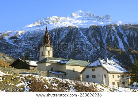 Church, Argentiere, Chamonix, Haute-Savoie, France - stock photo