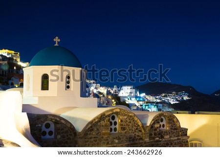 Church at Oia during twilight, Santorini, Greece - stock photo