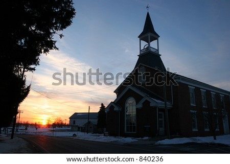 Church at sunset in York County, Pennsylvania. - stock photo