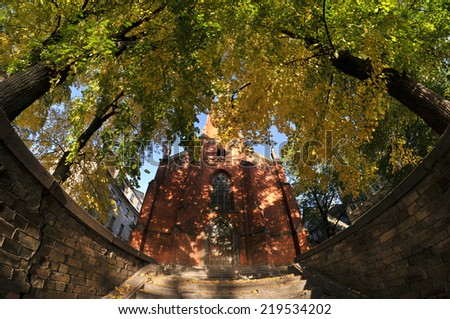 Church at the autumn - stock photo