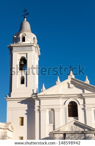 Church at the Recoleta cementary in Buenos Aires - stock photo