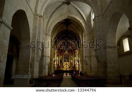 Church (baroque altarpiece) in Santa Maria de Huerta Cistercian Monastery, Soria. Spain - stock photo