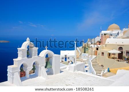 Church bells on Santorini island, Greece - stock photo