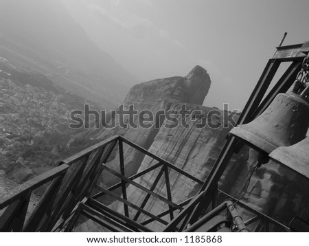 Church Bells over Village - stock photo