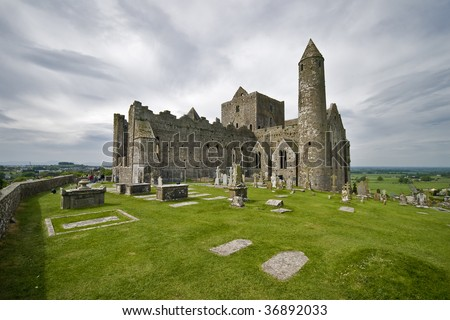 Church buildings on the Rock of Cashel, Ireland - stock photo