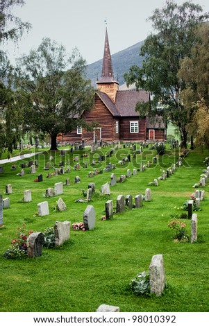 Church cemetery with in Norway. - stock photo