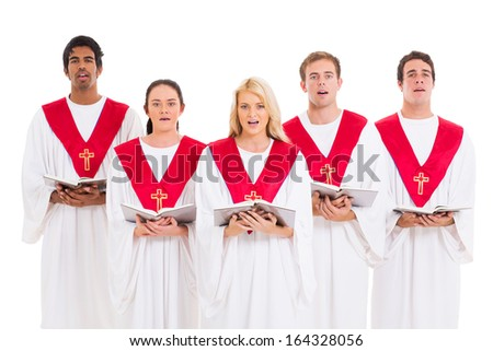 church choir singing from hymnal isolated on white background - stock photo