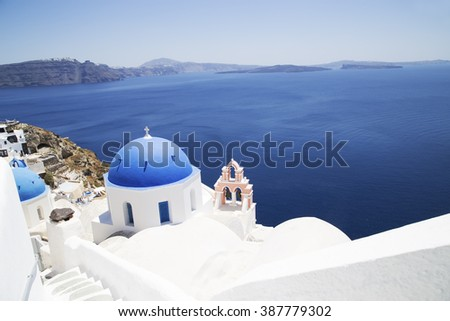 Church Cupolas of Oia town on Santorini island, Greece