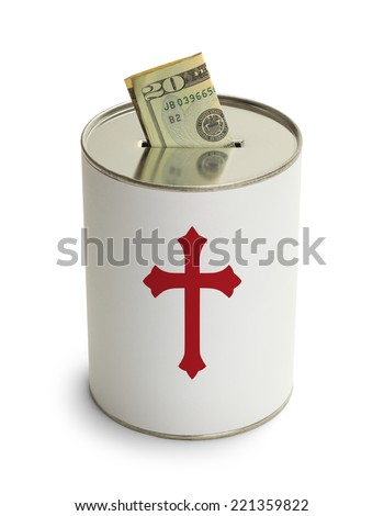 Church Donation Can with Cross and Money Isolated on White Background. - stock photo