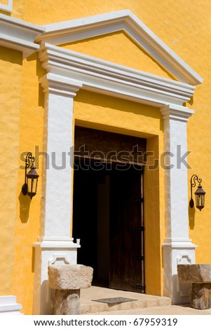 church door of Xcaret in yucatan, mexico