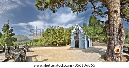 Church Ermita de la Virgen del Pino (La Palma, Canary Islands) - HDR panorama - stock photo