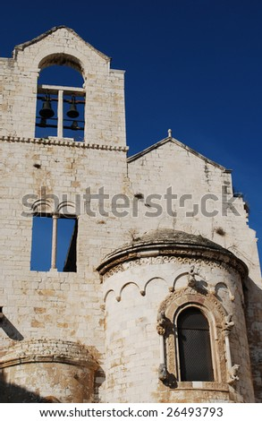 Church Facade and Bells, Trani, Apulia, Italy - stock photo