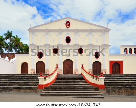 Church Iglesia San Francisco, the oldest church in Central America, built in 1529, destroyed by Henry Morgan and William Walker. Rebuilt in 1868 - stock photo