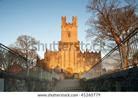 Church in limerick at sunset - stock photo
