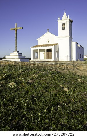 Church in Luz New Village, built in 2002 on a site selected by the community. The original village of Luz now lies submerged beneath the waters of the Alqueva dam. Portugal - stock photo