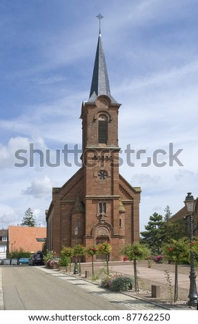 church in Mittelbergheim, a village of a region in France named Alsace - stock photo