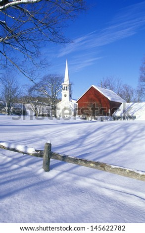 Church in Peacham, VT in snow in winter - stock photo