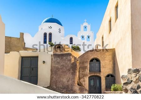 Church in Pyrgos village, Santorini, Greece - stock photo