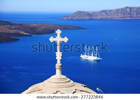 Church in Santorini island, Greece, on sea and mountain background - stock photo