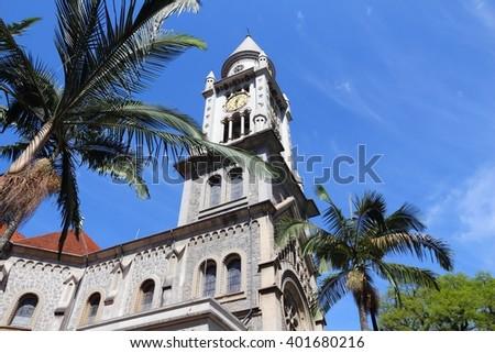 Church in Sao Paulo, Brazil. Nossa Senhora da Consolacao - Romanesque Revival style architecture. - stock photo