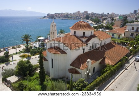 Church in Sarande - stock photo