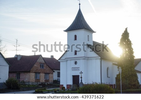 church in the evening, sunrise, sunset, place of worship - stock photo