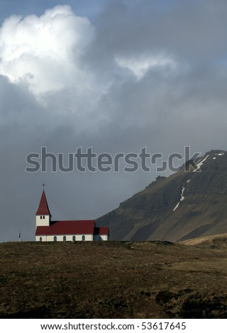 Church in the Mountains, Iceland - stock photo