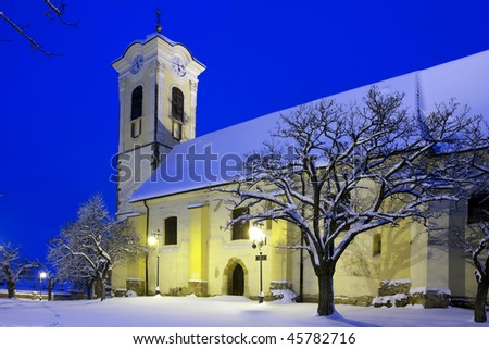 Church in winter night