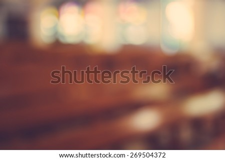 church interior blur abstract background - stock photo
