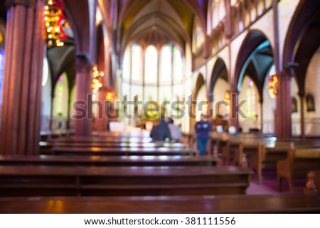 church interior blur abstract use for background. - stock photo