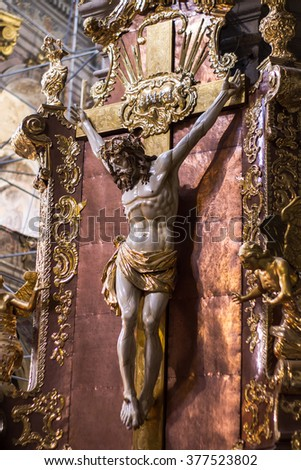Church interior, Jesus. Christian religion architecture. Religious catholic old cathedral inside. Christianity faith building indoor. Saints Peter and Paul Garrison Church (Lviv) 24.08.2015 - stock photo
