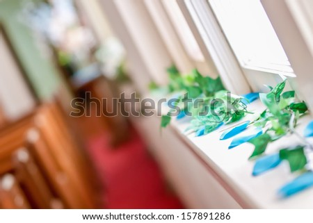 church isles decorated for wedding event - stock photo