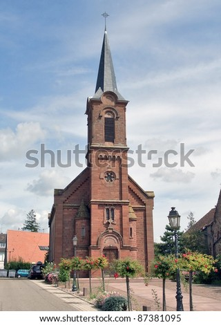 church located in Mittelbergheim, a village of a region in France named Alsace - stock photo