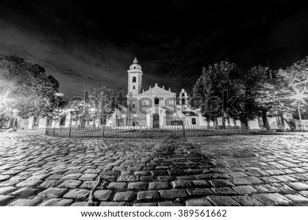 Church near La Recoleta Cemetery, Buenos Aires Argentina  - stock photo