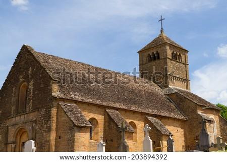 Church of Ameugny in Bourgogne,France. - stock photo