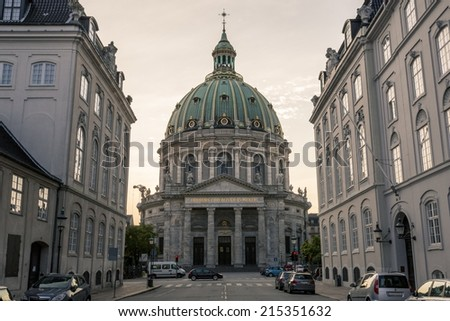Church of copenhagen at sunset - stock photo