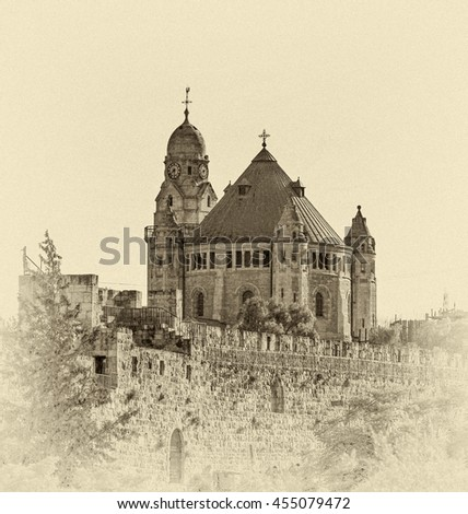 Church Of Dormition And Armenian Cemetery On Mount Zion - Israel (stylized retro) - stock photo