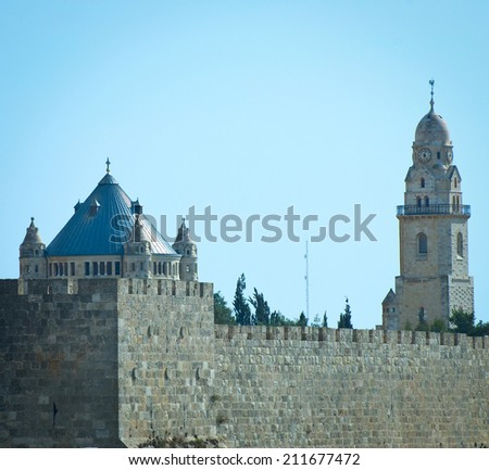 Church of Dormition and Bell-Tower on Mount Zion in Jerusalem, Instagram Effect - stock photo