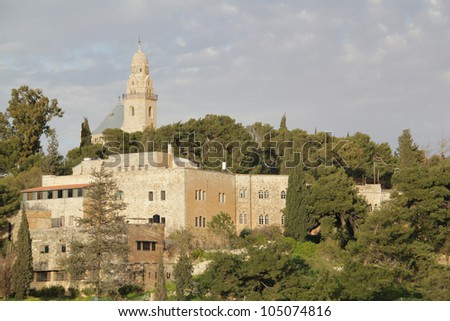 Church Of Dormition On Mount Zion,Jerusalem, Israel. - stock photo