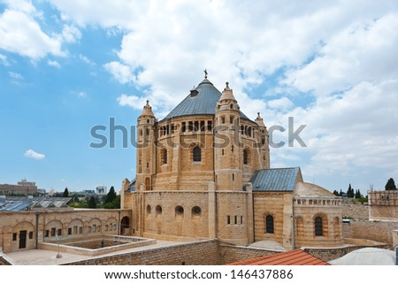 Church of Dormition on the Mount Zion - stock photo