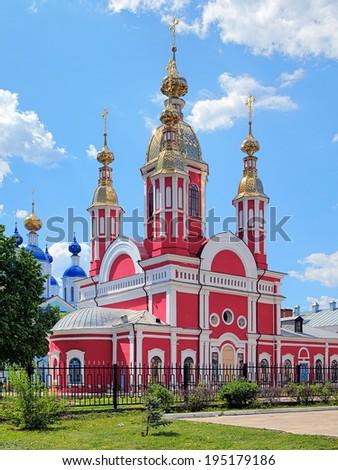 Church of John the Baptist and fragment of Kazan Cathedral in Kazan Monastery, Tambov, Russia - stock photo