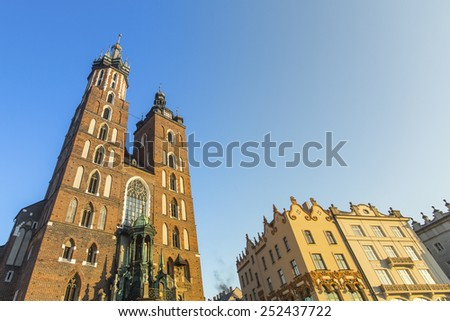Church of Our Lady Assumed into Heaven also known as St. Mary's Church (Kosciol Mariacki) in Krakow, Poland - stock photo