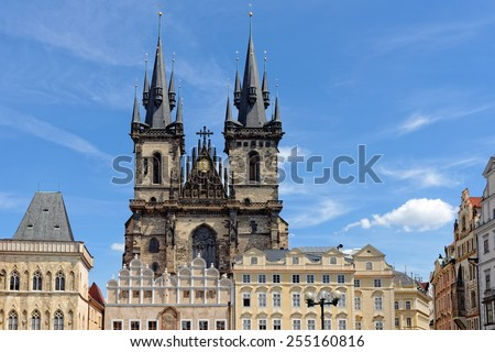Church of our Lady before Tyn - Tyn Church in the Old town square in Prague, Czech Republic. The name of the church originates from the Tyn Courtyard behind the church. - stock photo